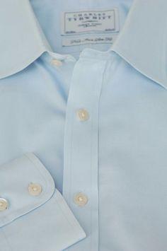 Charles Tyrwhitt $145 Light Blue Twill Cotton Dress Shirt 16.5 x 36 #CharlesTyrwhitt