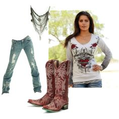 Red Hot Cowgirl Outfit, created by cowgirltuffcompany on Polyvore