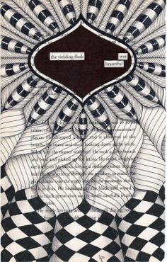Zentangle Art on a discarded book page with found poetry phrase featured.