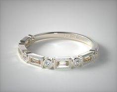 49415 wedding rings, womens stackable, 14k white gold round and baguette milgrain diamond wedding ring item - Mobile