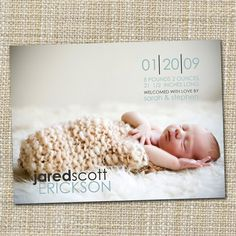 custom baby photo birth announcement modern by westwillow on Etsy. $15.00, via Etsy.
