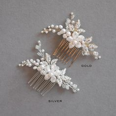 The Aries bridal hair comb is a beautifully balanced piece, designed for the modern romantic seeking a subtle yet detailed comb to finish her bridal look.