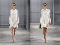 Short white wedding dress  on French Wedding Style Blog