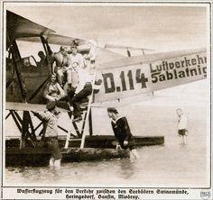 Wasserflugzeug für den Verkehr zwischen den Seebädern Swinemünde Heringsdorf Bansin Misdroy 1919 | par Ireck Litzbarski Collection