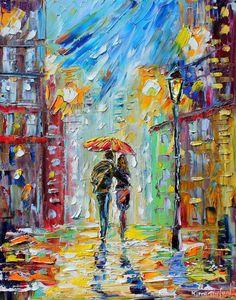 Rain Romance 22 x 28 galerij kwaliteit Giclee door Karensfineart