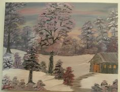 Oil Painting Hut In The Wood Pale Pastel Pink Romantic Colors Canvas Snow Dawn Winter Scenery