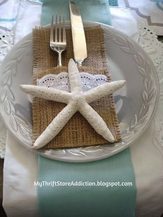 My Thrift Store Addiction : Take Me to the Beach Tablescape! #BeachTablescape #VintageDishes #Starfish