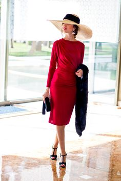 Classy lady in red Elegant Outfit, Classy Outfits, Lady In Red, Beautiful Dresses, Short Dresses, Fashion Dresses, Dress Up, Vintage Fashion, Style Inspiration
