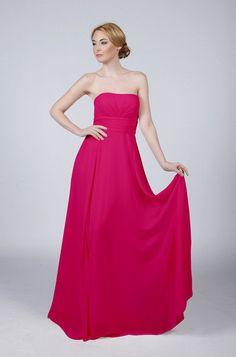 05baebb30b Bright Pink Fuschia Hot Pink Strapless Long Bridesmaid Prom Wedding Dress  by Matchimony