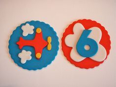 Airplane Edible Fondant Cupcake Topper Decorations- Great for a Boy's Birthday Party. $15.00, via Etsy.