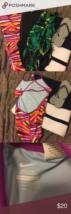 Bundle of three one piece racer back swim wear One size 8/34 Nike racer back, one size 6/32 Nike racer back, one size 6/32 speedo racer back. Can bundle or sell separately. Nike Swim One Pieces
