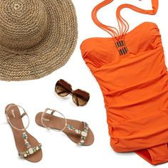 Everything you need for a perfect beach day. #sandals #sunglasses #swim #beachholiday