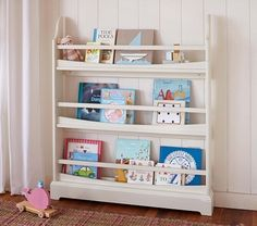 Madison 3 Shelf Bookrack from Pottery Barn. Designed to hold books to face forward for easier selection for kids. #sponsored @Luvocracy |