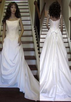 Wedding Dress Ivory Bridal Gown Train Silk Taffeta Beaded Top Lace Back Sz 6 8