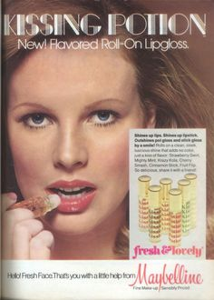 View from the Birdhouse: Maybelline Kissing Potion: A 1970's Fave.  Pictured:  1975 ad featuring a young Kim Basinger.