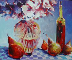 Still Life with Wine & Pears