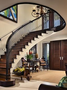 Stair lighting concepts and ideas. Lighting your stairs is great for safety and it looks great at the same time! Luxury Staircase, House Staircase, Facade House, Curved Staircase, Staircases, Bungalow Haus Design, Duplex House Design, Modern House Design, Home Stairs Design