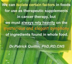 """""""We can isolate factors in foods for use as therapeutic supplements in cancer therapy but we must always rely heavily on the mysterious and elegant symphony of ingredients found in whole food."""" Patrick Quillin  #gettinghealthier #nutrition #fightcancer #wholefood #cancertherapy"""