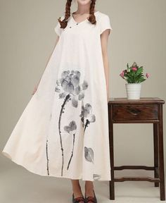 Rice white linen dress Folk style clothes maxi dress cotton dress casual loose dress cotton blouse Hand-painted dress plus size dress on Etsy, $65.00