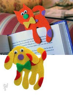Dog/cat felt bookmarks. marcadores para libros de niños