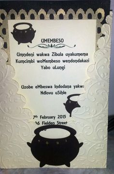 Traditional Zulu Invitation - Umembeso. Copyright - Creative Flair - 0829445889