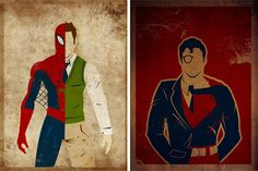 Awesome Series of Super Heroes split with secret identities. By Artist Danny Haas