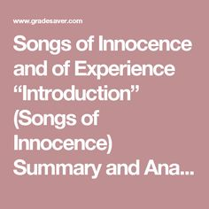 Songs of innocence and experience essay questions