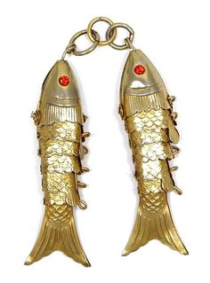 Two Goldtone Or Brass Articulated Fish Pendants