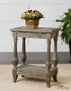 Chair Side Table or Bed Side Table of Solid Fir Wood with Saw Mark Distressing and a Rustic, Waxed Limestone Finish.  A Great Look for Beach Cottages