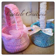 Robin Egg Blue Crochet Easter Basket by CrystalsCreations3 on Etsy, $20.00