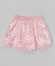 Another great find on #zulily! Light Pink Geometric Sequin Skirt - Girls by Lipstik Girls #zulilyfinds