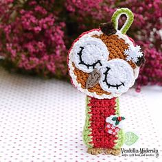 Christmas Sleeping owl crochet ornamet 1 pc by VendulkaM on Etsy