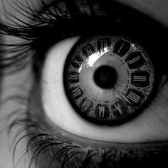 Clock Contact Lenses (ocular eye black and white bw timepiece roman numerals cool contacts photography look see time concepts photo)