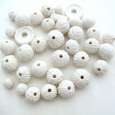 white porcelain beads
