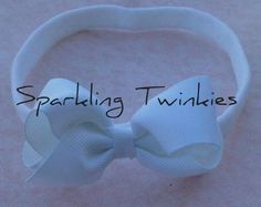 Tiny white Bow with Matching Headband   Fits by SparklingTwinkies, $5.95