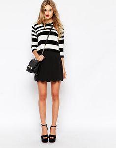 ASOS   ASOS A-Line Mini Skirt with Scallop Hem