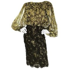 Gorgeous Vintage Bill Blass Size 6 Gold and Black Chantilly Lace Cocktail Dress | From a collection of rare vintage cocktail-dresses at https://www.1stdibs.com/fashion/clothing/evening-dresses/cocktail-dresses/