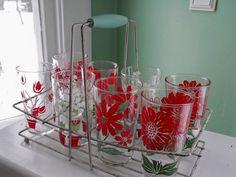 Flowered Glassware Set In Carrying Basket