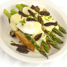 Poached Eggs, Morels and Asparagus with Meyer Lemon Sauce: Morel mushrooms.  Asparagus.  Fresh eggs.  What do these ingredients have in common? They're all traditional spring foods – and they all taste great together.