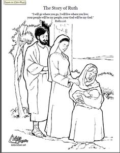 Boaz and ruth holding baby obed paper dolls or stick for Ruth and boaz coloring pages