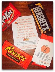 I like this idea for an alternative to keeping the lights off & the blinds shut on halloween. We still wouldn't allow our kids to dress up, but what a great opportunity to share the Gospel. Perhaps when our kids are older and can understand fully WHY we choose not to celebrate this holiday, and if we live in a neighborhood, we'll do this...