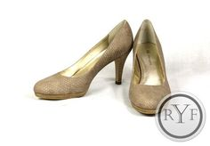 Anne Klein Beige Taupe Faux Snake Skin Textured Wystere High Heels Pumps Shoes 8 | eBay