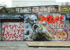 Murals of Greek Gods Rendered Against a Chaotic Backdrop of Graffiti by Pichi & Avo | Colossal