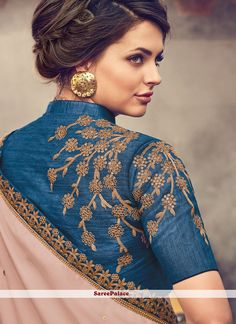 Image result for TEAL AND BLUE COLOUR SHADED SATIN SAREE