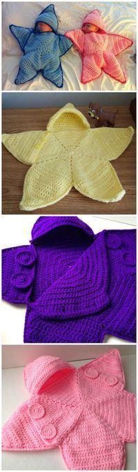 Crocheted starfish baby sleep sack