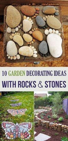 10 Garden Decorating Ideas with Rocks and Stones 10 Garten Deko Ideen mit Steinen und Felsen Gardening Garden Crafts, Garden Projects, Diy Projects, Organic Gardening, Gardening Tips, Gardening Vegetables, Container Gardening, Gardening Services, Indoor Gardening