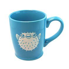 PUFFERFISH Coffee Mug - SKY BLUE - 16 oz - Microwave-safe Engraved Stoneware