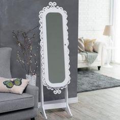 Belham Living Locking Cheval Mirror Jewlery Armoire Distressed Green