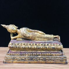 "Excited to share this item from my #etsy shop: 7.6"" Long Thai Reclining Buddha Statue Gold Enter Into Nirvana Temple Amulet Antique Decor, Antique Items, Thai Buddha Statue, Spiritual Figures, Thai Elephant, Reclining Buddha, Gautama Buddha, Guanyin, Antique China"