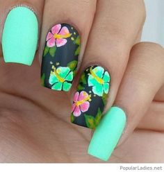 Green neon nail art with flowers